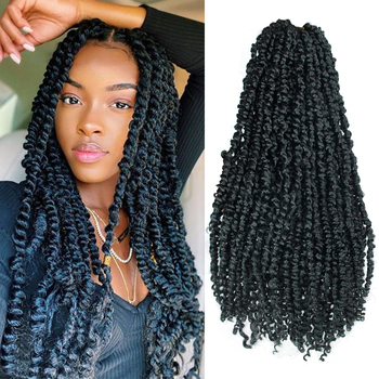 22inch Pre Twisted Passion Twist Hair Crochet Synthetic Ombre looped Fluffy Spring Bomb Twists Braiding - discount item  68% OFF Synthetic Hair
