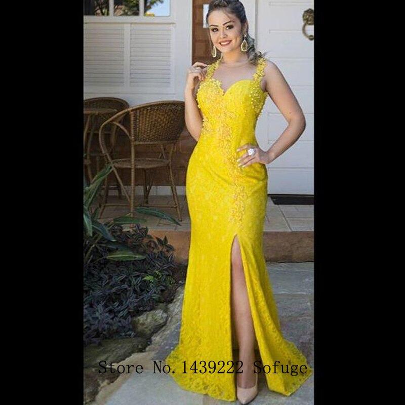 Yellow Lace Mermaid Evening Dresses Prom High Slit Illusion Bodice Cheap Vestidos De Fiesta De Noche Robe De Soiree Plus