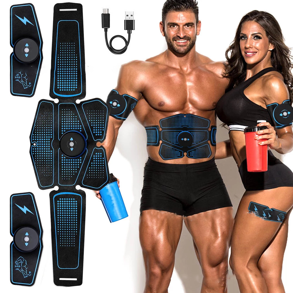 Abdominal Belt Electrostimulation ABS Muscle Stimulator Hip Muscular Trainer Toner Home Gym Fitness Equipment Women Men image