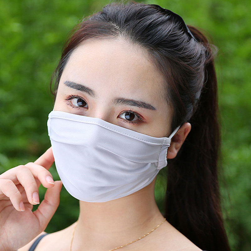 1PC Solid Color Ice Silk Cotton Mouth Masks Washable Mouth-Muffle For Women Men Breathable Summer Masks Face Covers