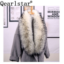 Qearlstar bufanda de piel sintética para mujer, abrigo largo y lujoso, con cuello, bufanda de 120x20cm, chal de decoración cálido