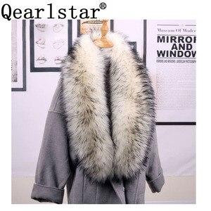 Image 1 - Qearlstar taklit kürk eşarp Supre uzun lüks ceketler ceket yaka kadınlar için 120*20cm susturucu sıcak dekorasyon şal sarar ZKG16