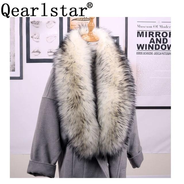 Qearlstar taklit kürk eşarp Supre uzun lüks ceketler ceket yaka kadınlar için 120*20cm susturucu sıcak dekorasyon şal sarar ZKG16