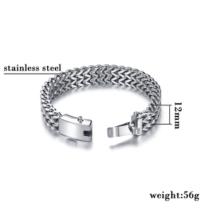 Image 2 - Ancient Silver Color Stainless Steel 12mm Width Buddha Bracelet For Women Chain Bangle Charms Bracelets Men Pulseira Jewelry 014