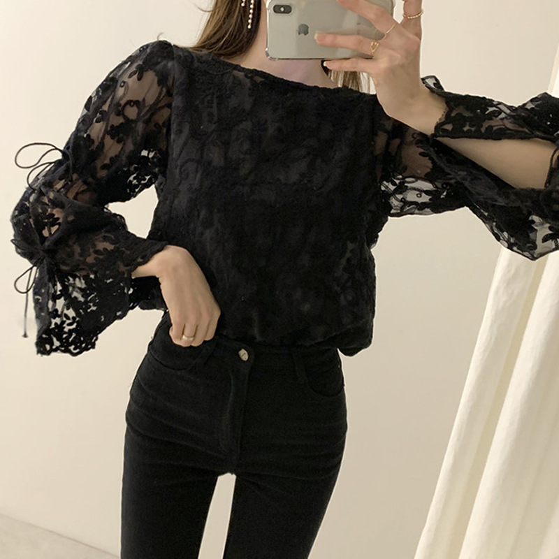 Spring Autumn New Girl Chiffon shirt Fashion embroidered lace Tops Elegant Flare sleeve Casual Women blouse Blusa womens blouses 7