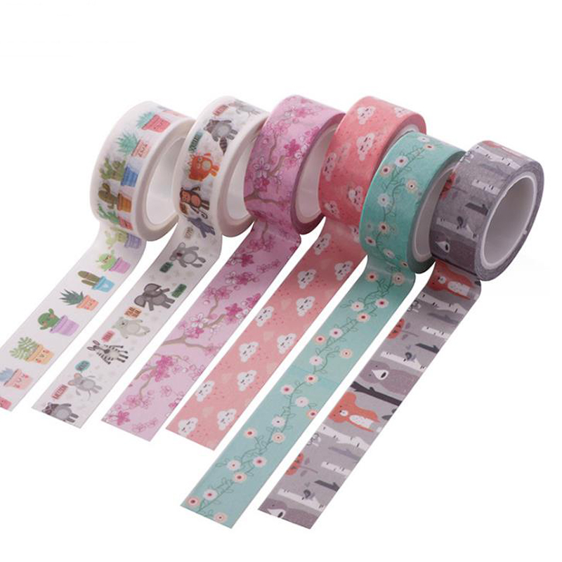 1 Pcs 15mm*5m Fish Floral Flowers Star Alphabet Adhesive Washi Tape Scrapbooking DIY Decorative Masking Tapes Sticker Stationery