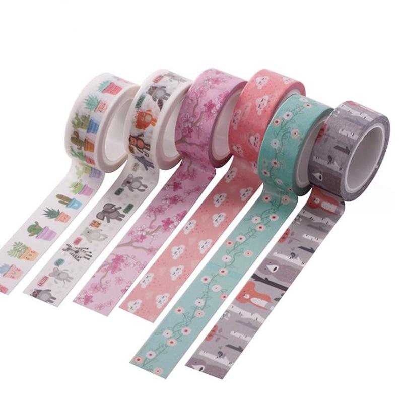 1 Pcs 15mm*5m Fish Floral Flowers Star Alphabet Adhesive Washi Tape Scrapbooking DIY Decorative Masking Tapes Sticker Stationery