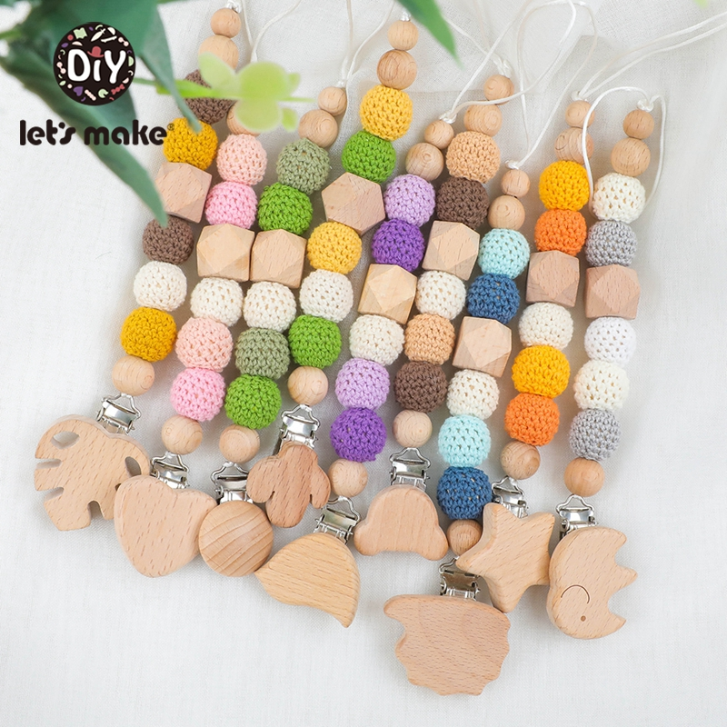 Let's Make 1PC Wood Baby Teether Pacifier Chain Cartoon Wooden Clip Geometric Crochet Beads With Bag Teething Nursing Pendants