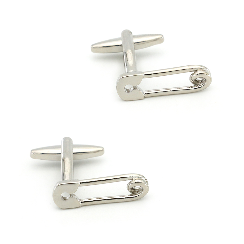 Free Shipping Men's Cufflinks Safety Pin Design Silver Color Quality Copper Cuff Links Wholesale&retail