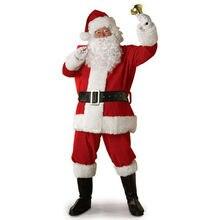 Русский Рождественский костюм Санта Клауса; маскарадный костюм Санта Клауса; нарядное рождественское платье для мужчин; 5 шт./лот; костюм для взрослых