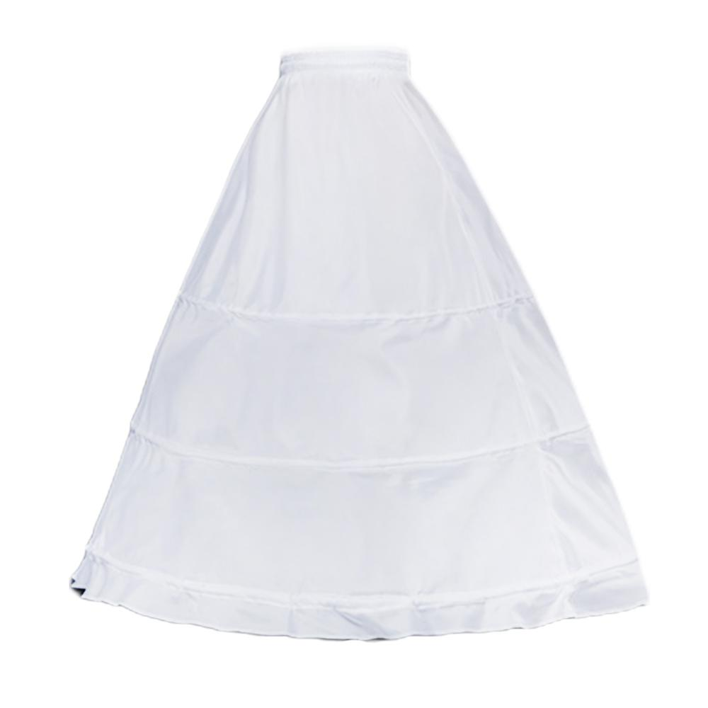 Womens Single Layer 3 Hoops White Petticoat Wedding Gridal Gown Dress Bridal Crinolines Drawstring Waist A-Line Underskirt