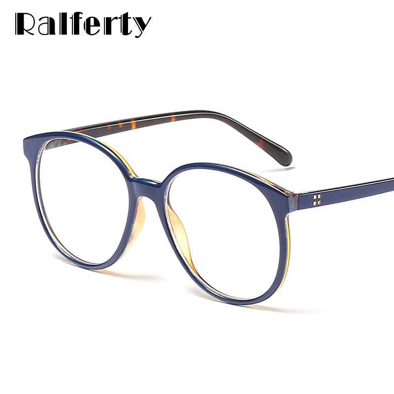 Ralferty Big Round Glasses Womens Eyeglass Frame Retro No Diopter Glasses Spectacle Frames For Prescription Optic Glases F95197