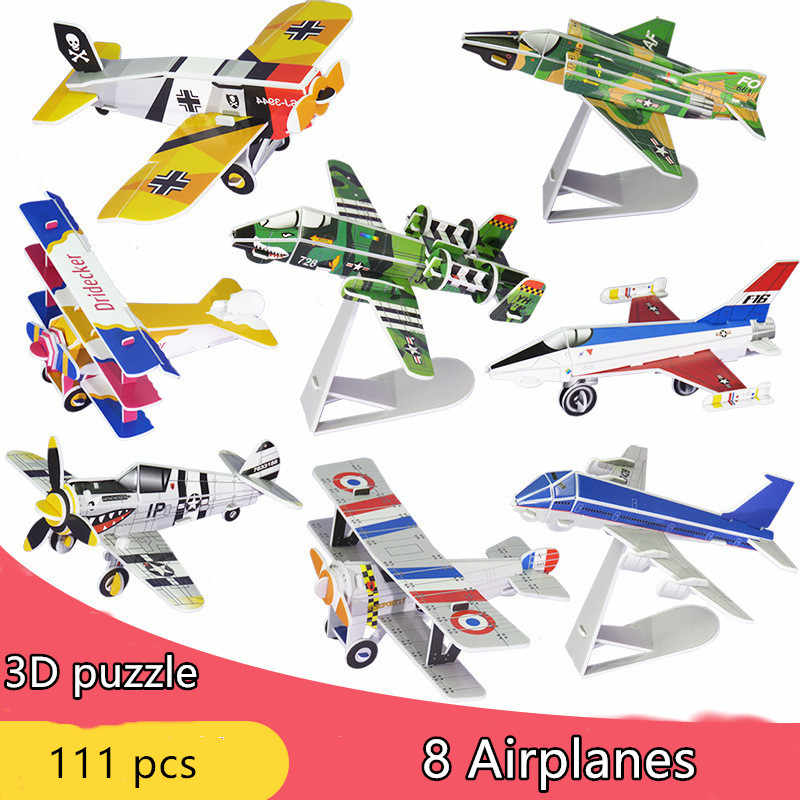16PC/Lot 3D paper Puzzle Model Simulation Dinosaur Insect animals cars fire truck airplane Kids toys jurassic park jigsaw puzzle