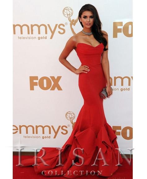 Livraison gratuite 2016 Oscar tapis rouge célébrité bretelles Train robe de bal robe de soirée
