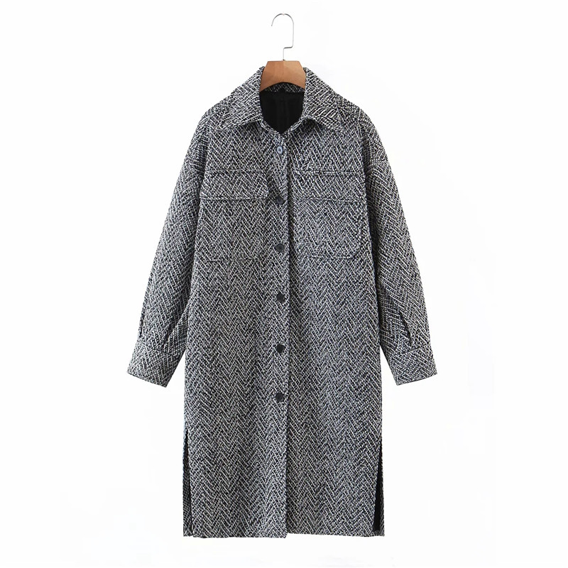 Merodi Women Winter Fashion Woolen Gray Za Coats Female Stylish Single Breasetd Thick Outwear Ladies Pockes Long Jackets Ovesize|Jackets| - AliExpress