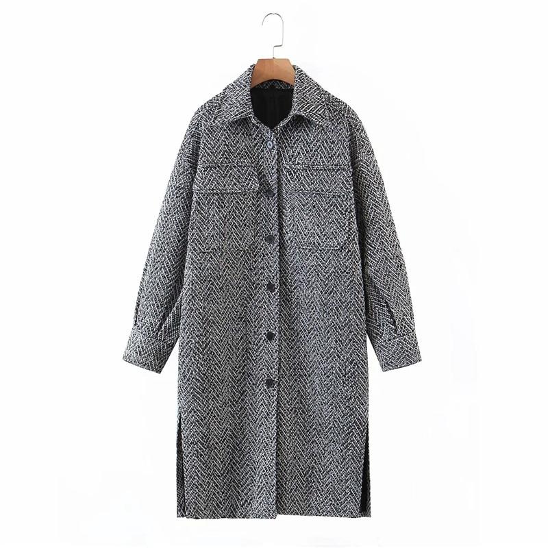 Merodi Women Winter Fashion Woolen Gray Za Coats Female Stylish Single Breasetd Thick Outwear Ladies Pockes Long Jackets Ovesize|Jackets| - AliExpress