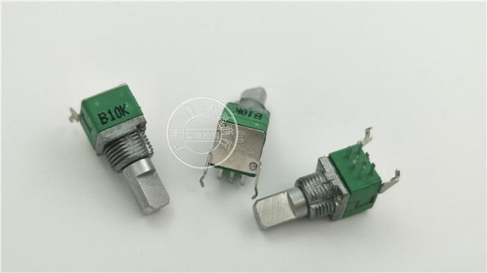 Оригинальный новый горизонтальный двойной потенциометр 100% RK097G B10K длина ручки 15 мм f монтажное отверстие 9 мм (переключатель)