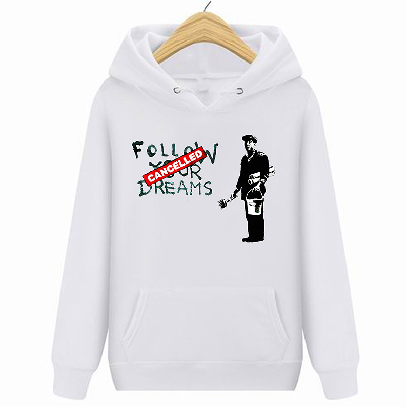 Funny Clothing Casual Hoodies Sweatshirts Banksy Follow Your Dreams Funny Smart Short Men Crew Neck Best Friend