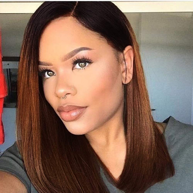 AIMEYA Ombre Brown Short Lace Front Wig for Women Middle Part Natural Straight Synthetic Lace Wig High Temperature Fiber Hair