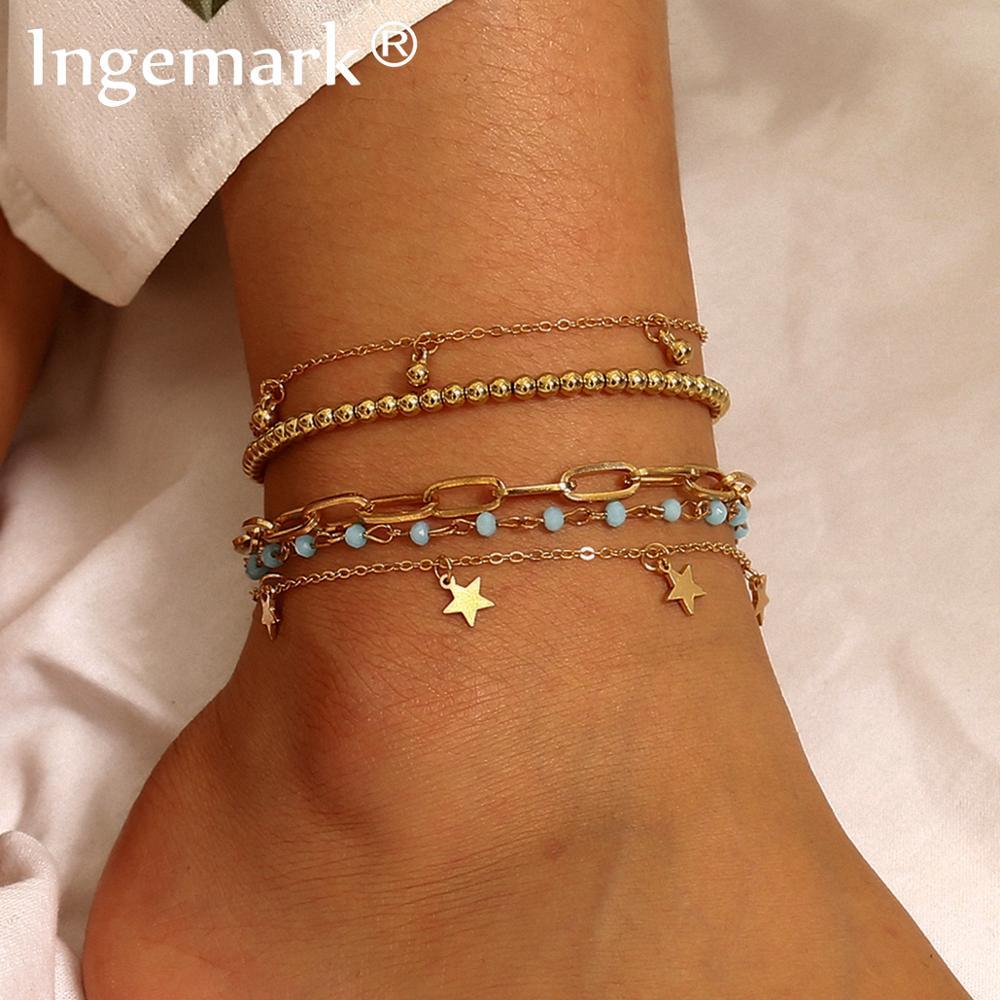 Bohemian Multi Layer Bead Anklets for Women Summer Beach Vintage Star Tassel Link Barefoot Sandals Bracelet Charm Foot Jewelry