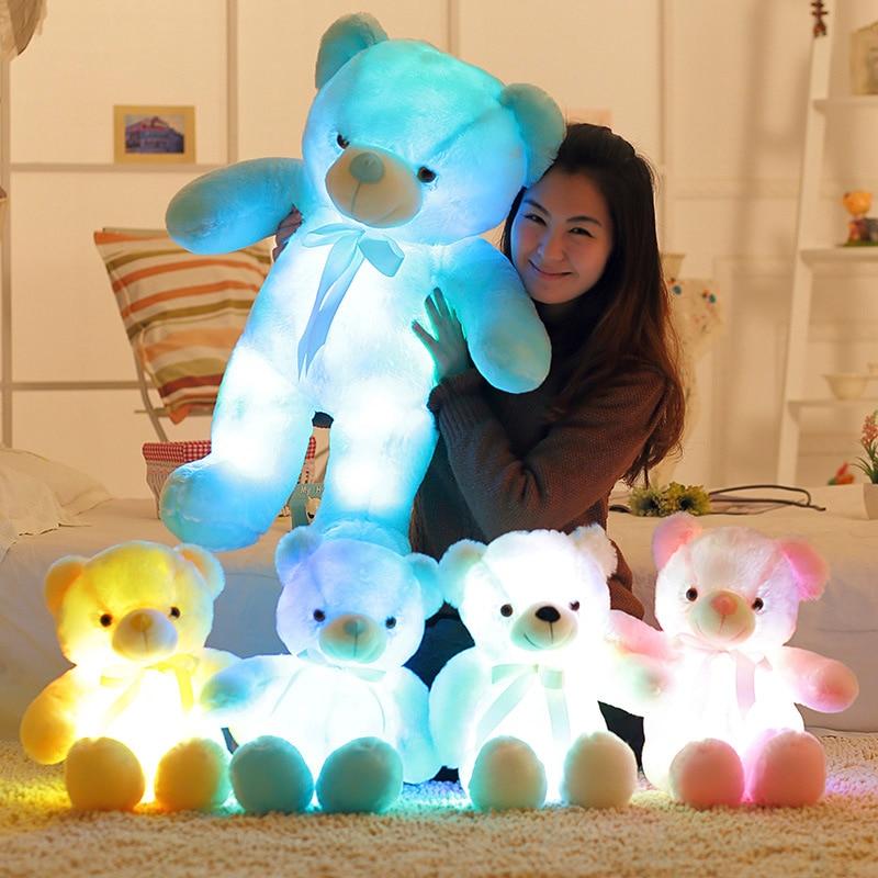30/50/80cm Kreative Licht Up LED Teddybär Kuscheltiere Plüsch Spielzeug Bunte Glowing Plüsch Spielzeug geschenk Für Kinder Kinder Kissen