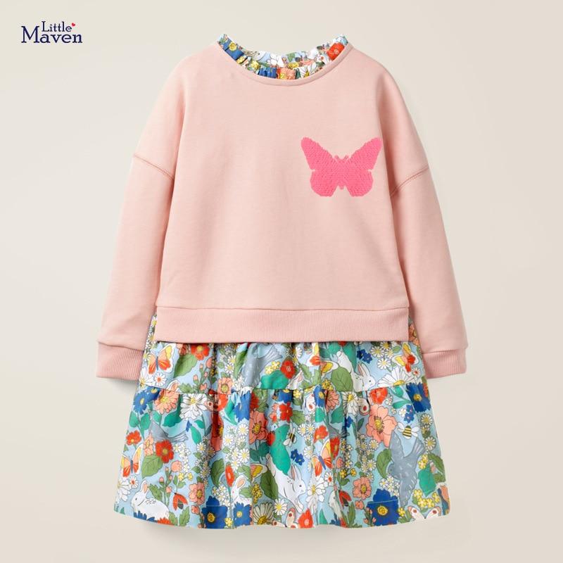 Little maven Girls long sleeve dress Butterfly Sequined Baby Girls Princess Costume for Christmas Kids Clothes Children Dress 1
