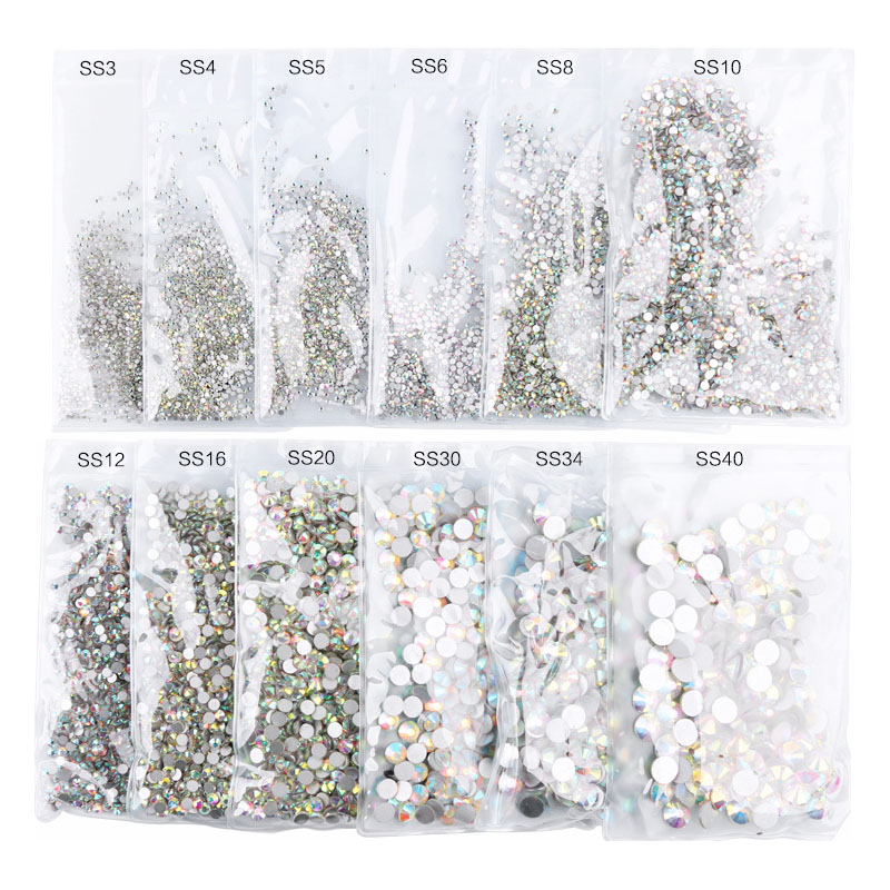 Swarovsky AB SS3-40 Mix Rhinestones Nail Stones Glass 3D Nail Art Decorations Flat Crystal AB Rhinestones For Nails Accessoires