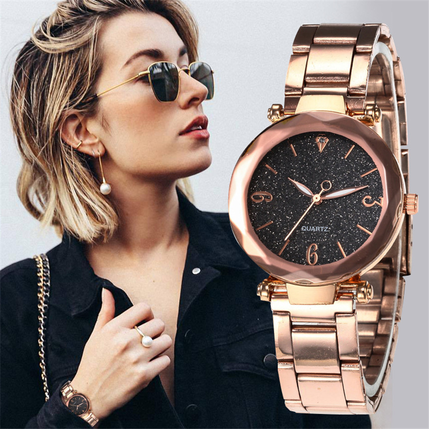 Romantic Women Watches Star Sky Dial Clock Luxury Rose Gold Bracelet Wrist Ladies Watches Reloj Mujer Drop Shipping D30
