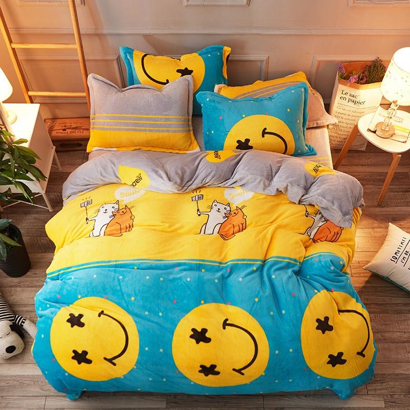 Children's Bedding Set Cartoon Pattern Bed Sheet Quilt Cover Pillowcase Family Set Comfortable Breathable Comforter Bedding Sets