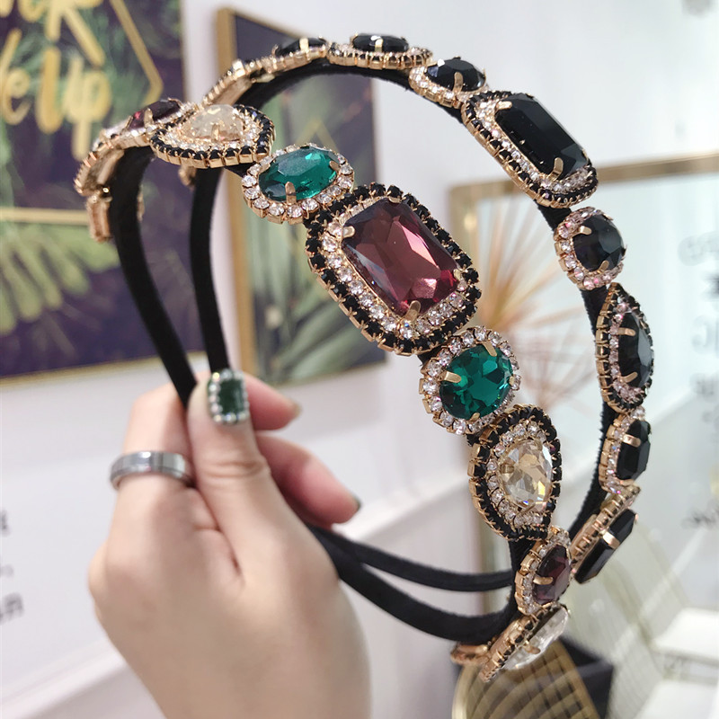 Vintage Colorful Rhinestone Jewel Hairband For Women Hair Clips Headband Hair Bands Hoop For Hair Accessories Girls Haarband