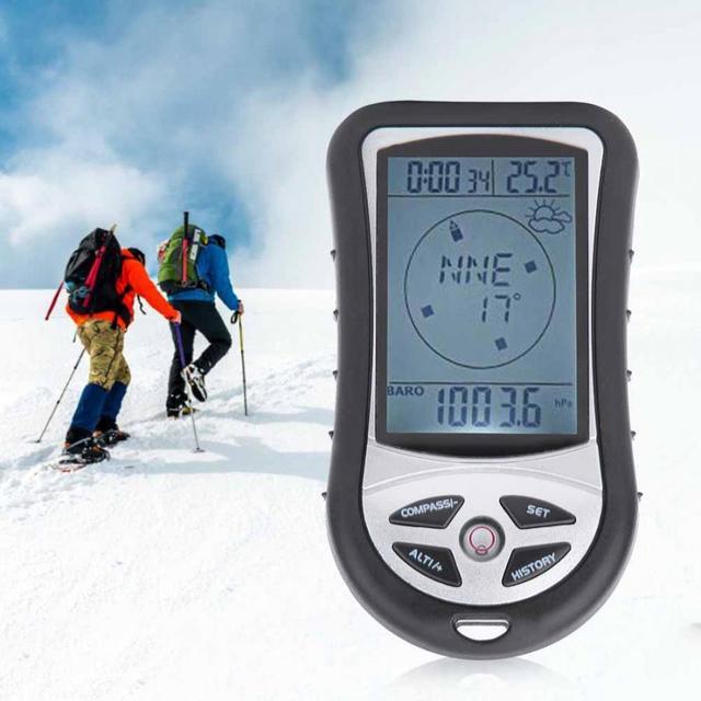 Gps multifuncional 8 em 1, mini localizador de navegação gps receptor digital alímetro barômetro bússola para viagem ao ar livre