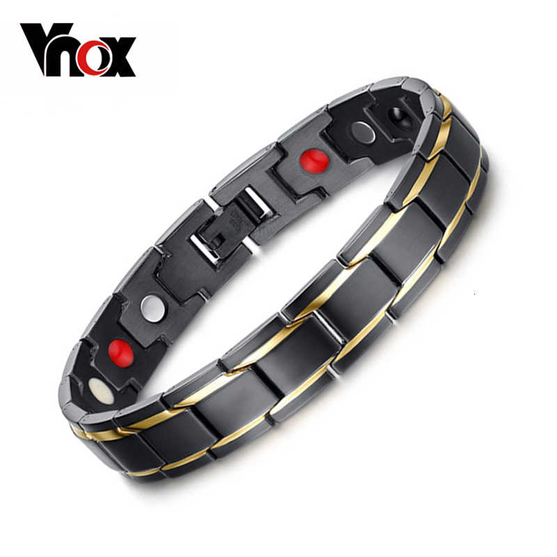Vnox שחור הבריאות של גברים צמידים & צמידי H כוח מגנטי נירוסטה קסם תכשיטי צמיד לגבר