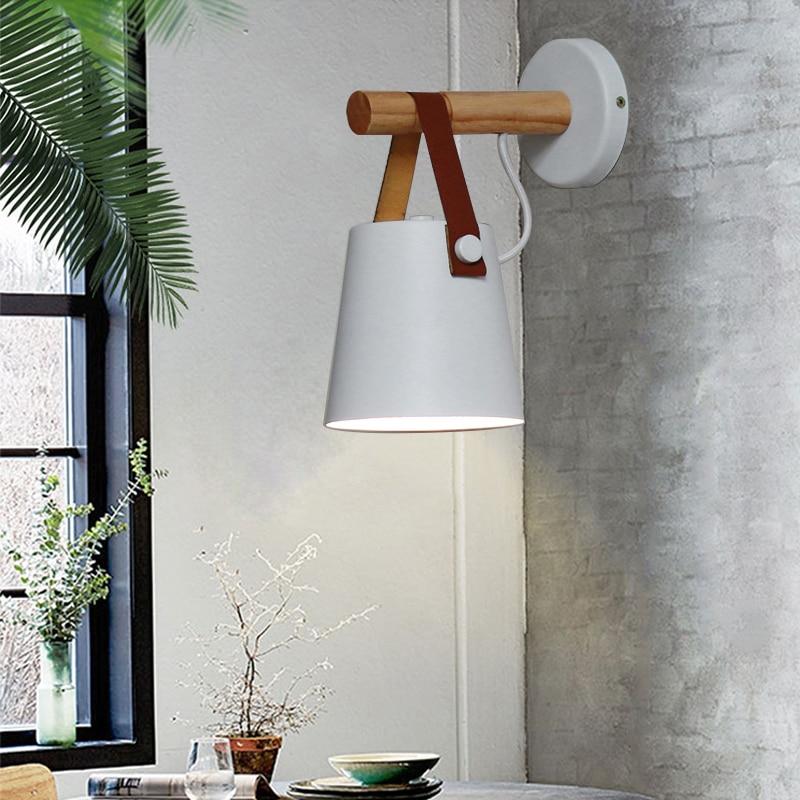 Wooden Simple Creative Wall Light Nordic Led Bedroom Bedside Lamp Decoration Morden Living Room Corridor Hotel E27 Wall Lamps