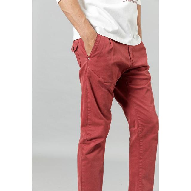 SIMWOOD 2020 new back pockets red pants men high quality little casual elastic trousers slim fit pant SI980557 36