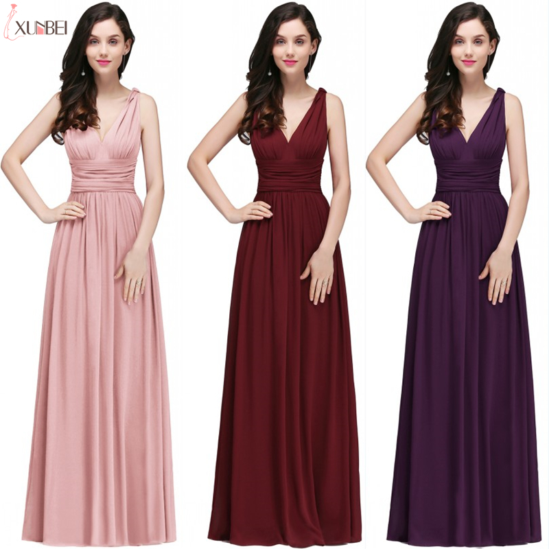 In Stock Robe De Soiree Sexy 2019 V Neck Long Evening Dresses A Line Chiffon Prom Dresses Formal Party Gown Vestido De Festa