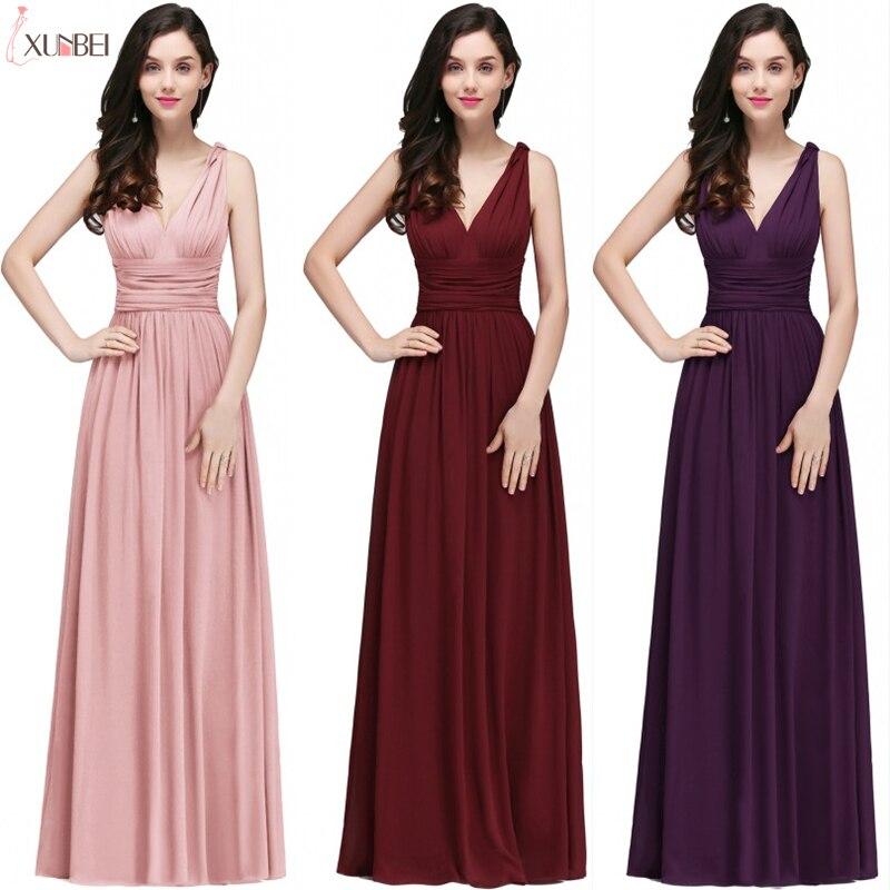 In Stock Robe De Soiree Sexy V Neck Long Evening Dresses A Line Chiffon Prom Dresses Formal Party Gown Vestido De Festa