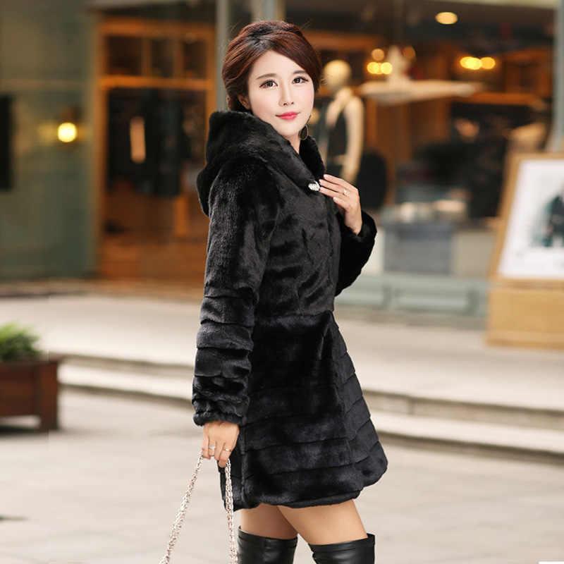 Pelliccia donna Plus Size 6XL 5XL 4XL vison casaco de pele Falso Casaco De Pele Para As Mulheres Tarja 2019 Inverno Pele De Coelho jaqueta Casaco Fofo