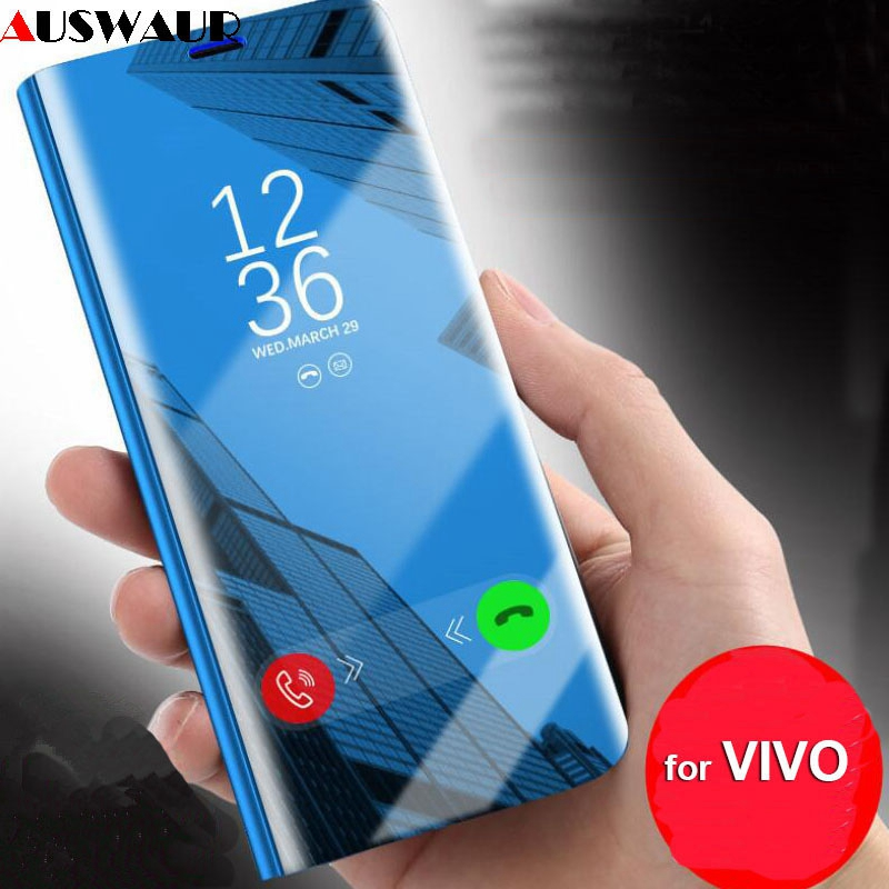 Smart Wake Sleep Mirror Flip Cover <font><b>Case</b></font> for <font><b>VIVO</b></font> X20 X21 X23 Y85 Y83 Y81 Y71 Y97 Y91 Y17 V7 V11 V15 <font><b>Z1</b></font> <font><b>Pro</b></font> Plus IQOO Flip <font><b>Case</b></font> image