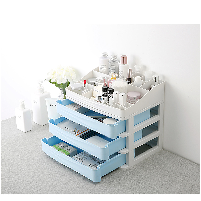 Household Storage Box Plastic Cosmetics Separated Cabinet Box Bedroom Jewelry Finishing Racks