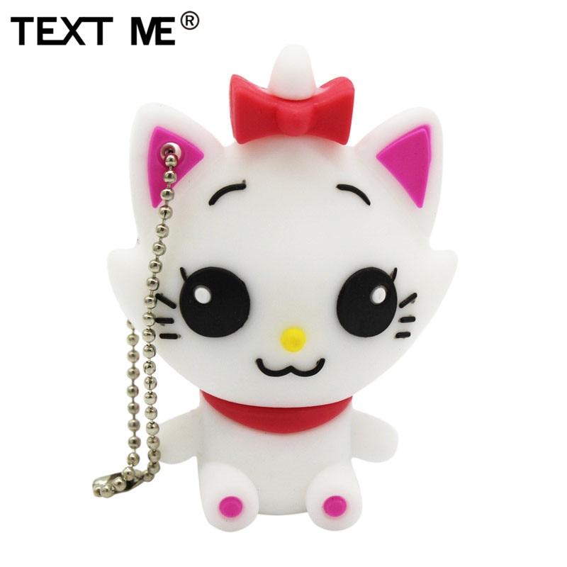 TEXT ME cute cartoon cat pendrive usb2.0 4GB 8GB 16GB 32GB pen drive USB Flash Drive creative Pendrive 64GB