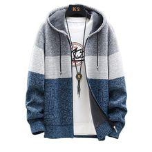 Men's Cardigan Jacket Autumn Winter Fleece Sweater Coat Men Casual Hooded Jacket 2020 Warm Patchwork Jackets Mens Outerwear