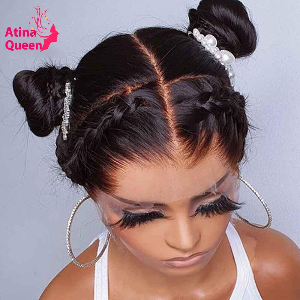 Glueless hd perucas de renda transparente pele derreter peruca frontal profunda 13x6 frente do laço peruca de cabelo humano preto feminino remy peruca cheia do laço