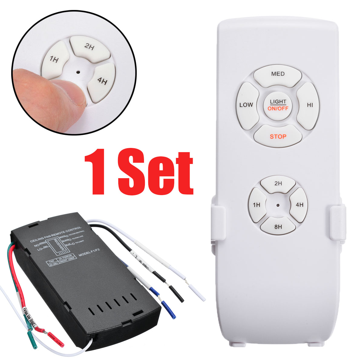 1Kit Universal Ceiling Fan Light Lamp Wireless Receiver Adjust Wind Speed And Timing With One Key Remote Controls