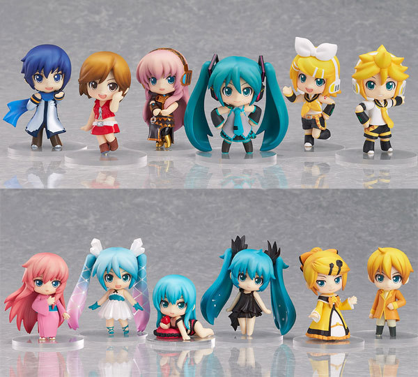 Anime 6pcs/set VOCALOID <font><b>Kagamine</b></font> <font><b>Rin</b></font> Ren Hatsune Miku Selection Q Ver. PVC Action <font><b>Figure</b></font> Model Toy Collection Cute Doll LELAKAYA image