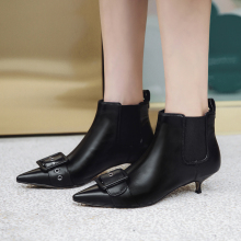 Plus Size 34-43 Fashion Genuine Leather Pointed Toe High Heel Boots Shoes Woman Elastic Band Buckle Strap Ankle Boots Women Boot цены онлайн