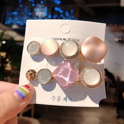 Hair Clips For Women Headband Hairpins Barrettes Pearl Geometric Girls Hairgrips Fashion Hair Jewelry Accessories 3pcs/set