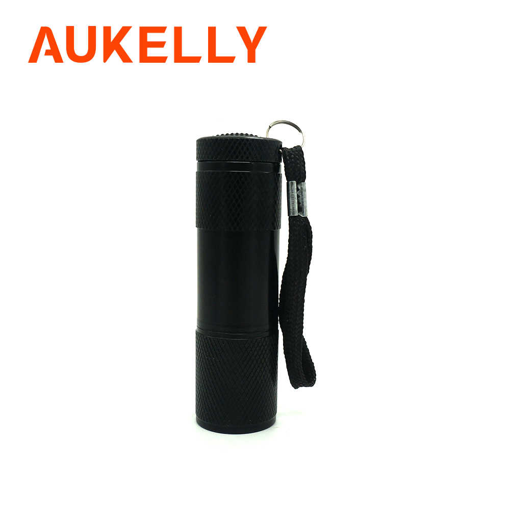 Aukelly Mini 9 LED UV Flashlight Ultraviolet Purple Ultra Violet Blacklight Invisible Ink Marker Detection Torch Light Lamp 3AAA