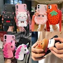 3D חיות מצוירות ארנק מקרה עבור Huawei Honor 30 פרו 30S 20i 10i 10 9X 9A 9C 9S 9 לייט 8A ראש 8C 8X 8S חמוד רך TPU כיסוי