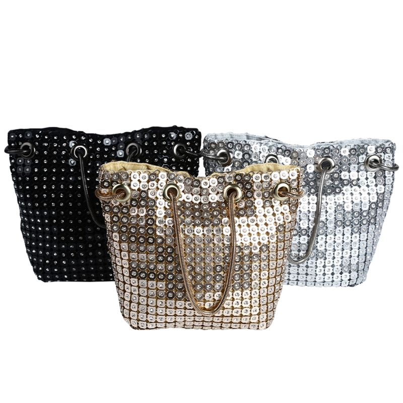 Женская сумочка с пайетками вечерняя на плечо для невесты сумка
