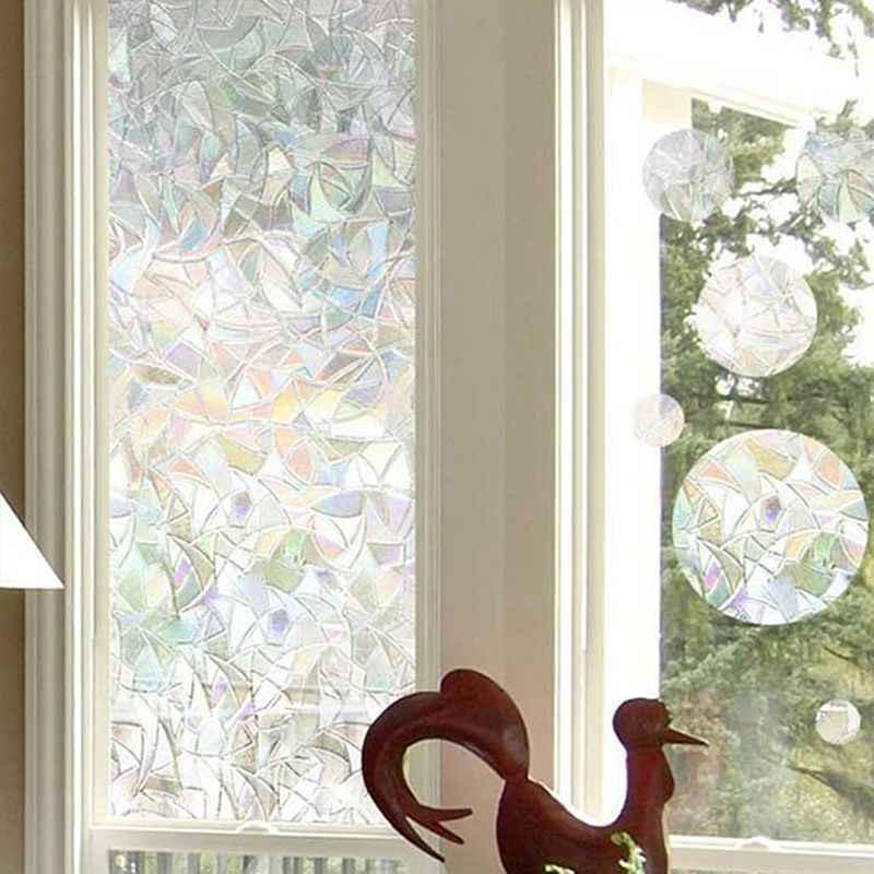 Nouveau 3D statique décoratif intimité fenêtre verre Film autocollant teinté Anti UV auto-adhésif arc-en-ciel autocollants décor à la maison